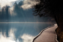 Misty Autumn Morning On Lake B...