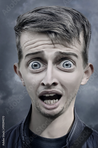 Humorous caricature of a scared man Canvas-taulu