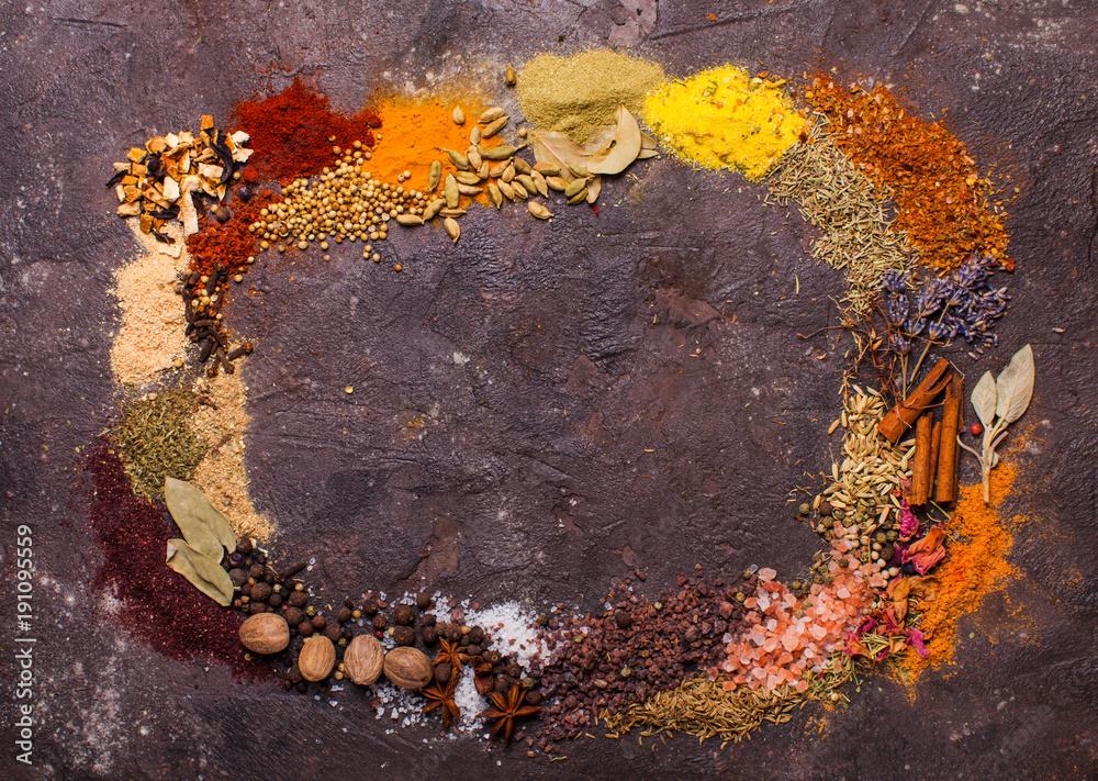 Fototapety, obrazy: Flat lay spicy frame
