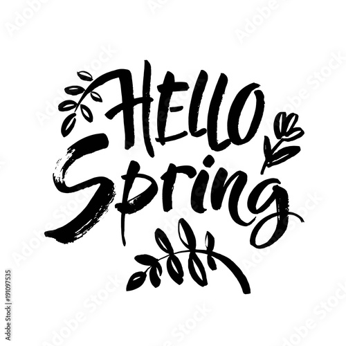 Recess Fitting Positive Typography Phrase Hello spring Brush lettering isolated on background. Handwritten vector Illustration.