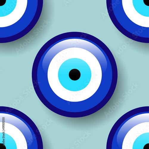 Amulet Seamless Pattern Blue Eye Pattern From Evil Eye Amulet