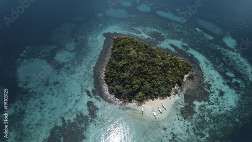 High angle scenic view of island amidst sea