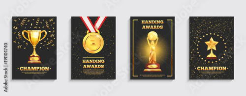 Photo Award Gold Trophy Posters Set