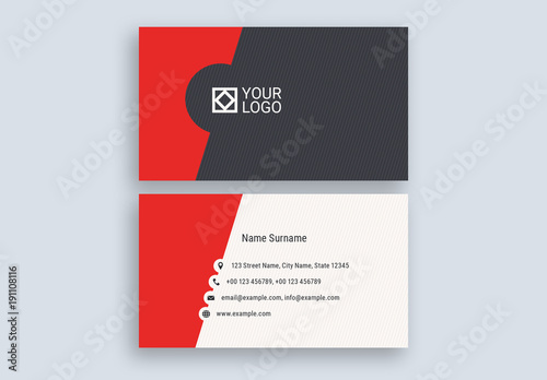 Red Cutout Business Card Layout Buy This Stock Template And Explore