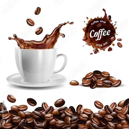 Realistic vector set of elements (coffee beans background, coffee cup, a coffee Fototapete