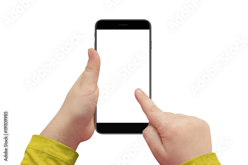 kid hand holding cellphone with isolated white screen for mockup