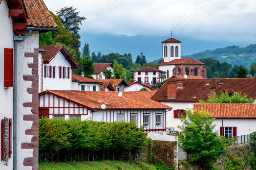 White basque houses in Pyrenees mountains, Saint Jean Pied de Port, France