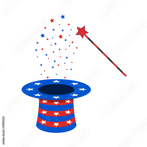 Canvas Print Magic wand and hat. Vector illustration