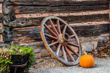Wagon Wheel And Pumpkin
