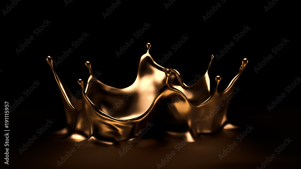 Fototapety, obrazy: Luxurious, mysterious, vintage, abstract splash of liquid gold on a black background. 3d illustration, 3d rendering.