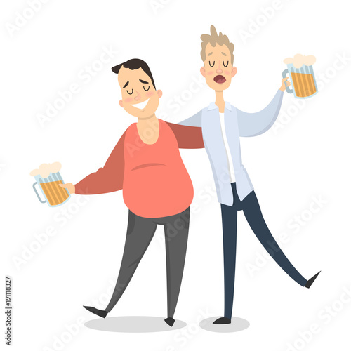Two drunk friends. Fototapet