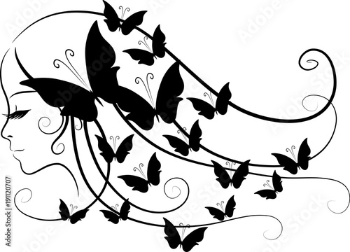 Photo sur Toile Papillons dans Grunge beauty hair design