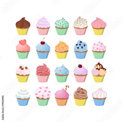 Photo  Sweet cupcakes set.