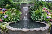 Stone Waterfall Fountain In A ...
