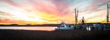 Fishing Village Sunset Panorama