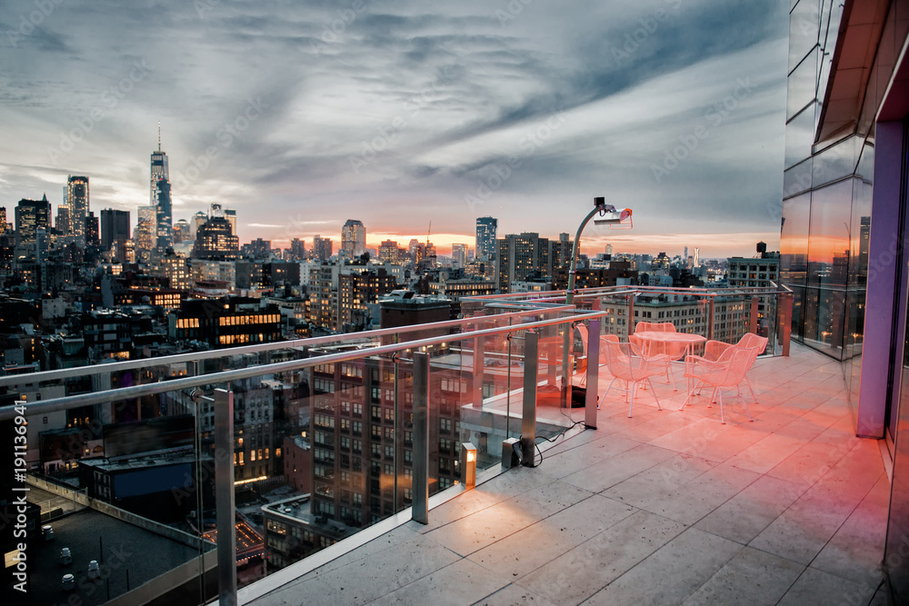 Fototapety, obrazy: Luxury city rooftop balcony with chilling area in New York City Manhattan midtown. Elite real estate concept.