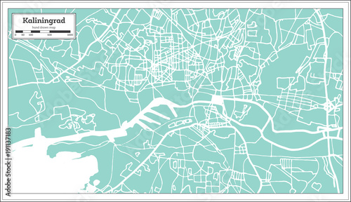 Kaliningrad Russia City Map in Retro Style. Outline Map. Tablou Canvas
