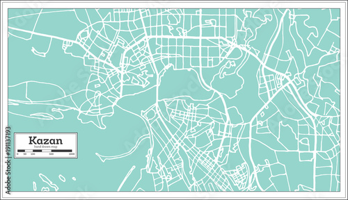Kazan Russia City Map in Retro Style. Outline Map. Fototapet