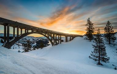 Sunrise over Donner Summit Bridge