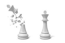3d Rendering Of Two Isolated White Chess Kings Stand Near Each Other With One Of Them Cracked And Broken.
