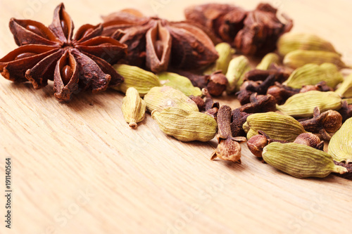 Spices cardamom anise stars and cloves Wallpaper Mural