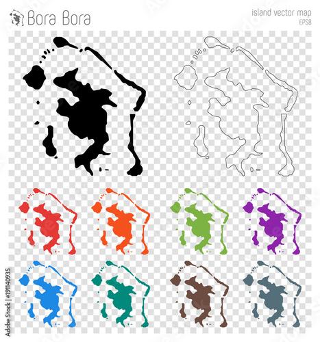 Bora Bora High Detailed Map Island Silhouette Icon