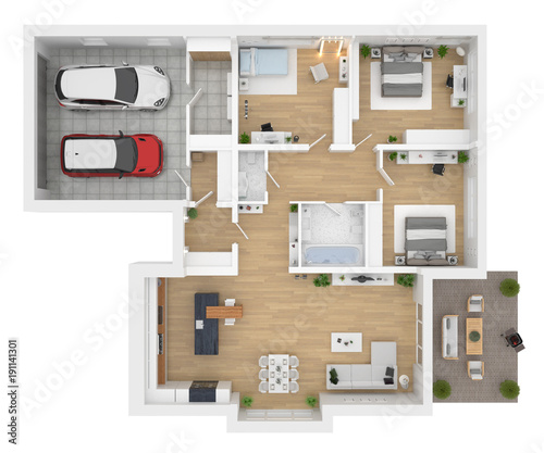 Floor Plan Top View House Interior Isolated On White
