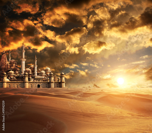 Foto op Canvas Zandwoestijn A fabulous lost city in the desert