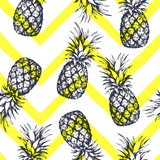 Seamless pattern with pineapples, hand drawn in graphic style. Vector illustration - 191144908