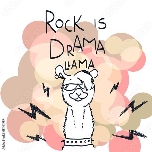 Śliczna karta z kreskówki lamą. Motywacyjny i inspirujący cytat. Doodling ilustracja