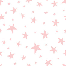 Vector Seamless Pattern Decoreted Pink Stars For Christmas Backgound, Birthday Baby Shower Textile