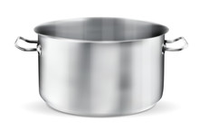 Stainless Steel Pot On White Background