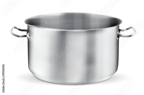 Foto Stainless steel pot on white background
