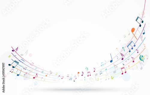 Cuadros en Lienzo Colorful music notes background