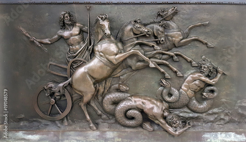 Metallic Panel depicting with Zeus, greek ancient god, in war chariots during ba Canvas Print