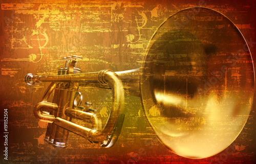 abstract grunge background with trumpet Wallpaper Mural