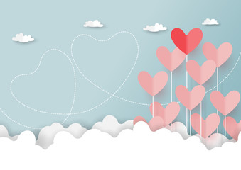 Fototapeta samoprzylepna Paper art style of valentine's day greeting card and love concept.Origami floating hearts from clouds on blue sky background.Vector illustration.