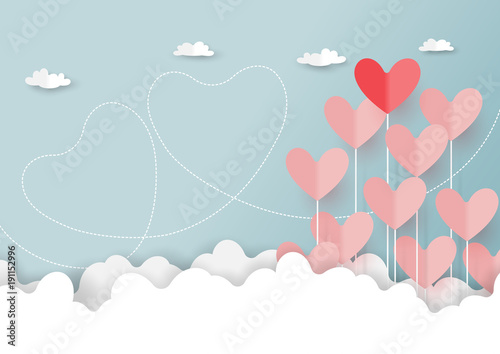 Foto auf AluDibond Licht blau Paper art style of valentine's day greeting card and love concept.Origami floating hearts from clouds on blue sky background.Vector illustration.