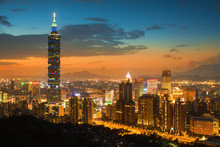 Taipei's City Skyline At Sunset And The Famous Taipei 101 In The Background