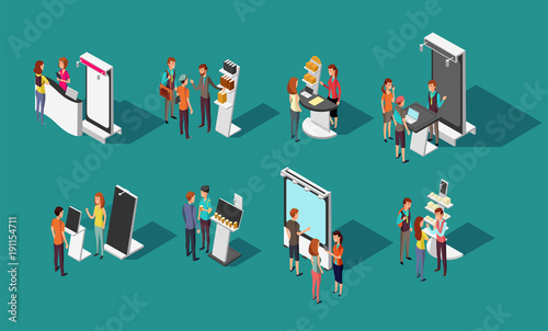 Obraz People standing at expo promotional stands vector 3d isometric set - fototapety do salonu