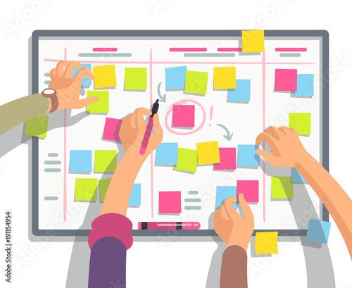 Leinwand Poster Developers team planning weekly schedule tasks on task board