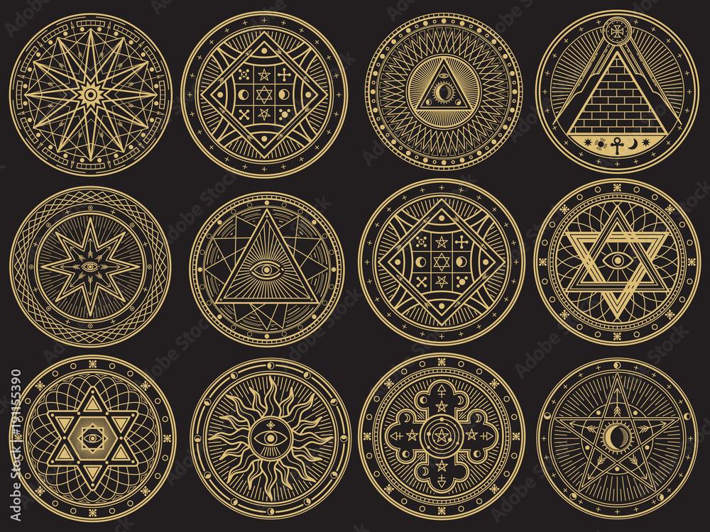 Fototapeta Golden mystery, witchcraft, occult, alchemy, mystical esoteric symbols