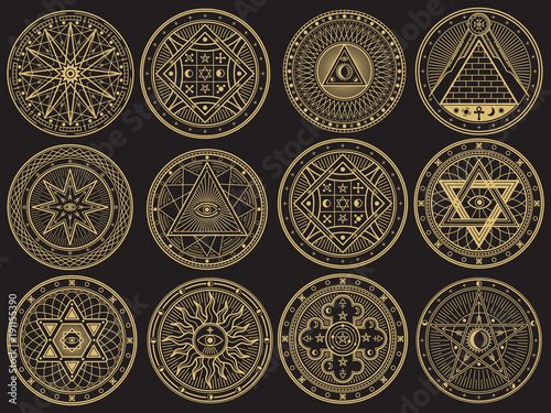 Fotomural Golden mystery, witchcraft, occult, alchemy, mystical esoteric symbols