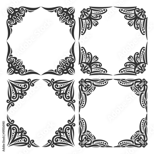 ornate black picture frames silver vector set of decorative black frames on white ornate decoration with flourishes for wedding invitation
