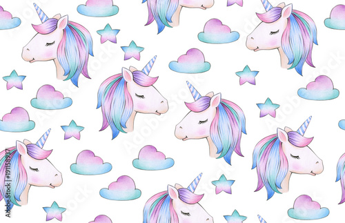 Tela  Cute, magic unicorn  seamless pattern,   isolated on white.