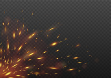 Glowing Red Flying Fire Sparks. Fire Isolated On A Black Transparent Background. Vector Illustration.