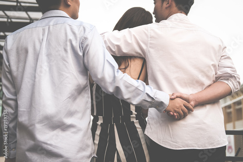 Fotografía  homosexual man hug woman while holding hands with secret lover