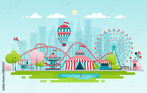 Amusement park, urban landscape.