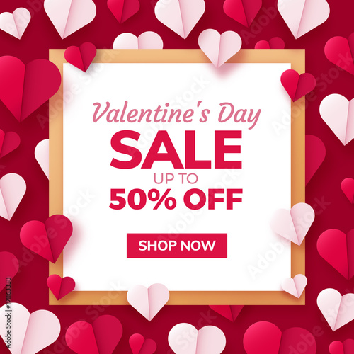 Fotografie, Obraz  Valentines day sale background with paper origami hearts divided into half