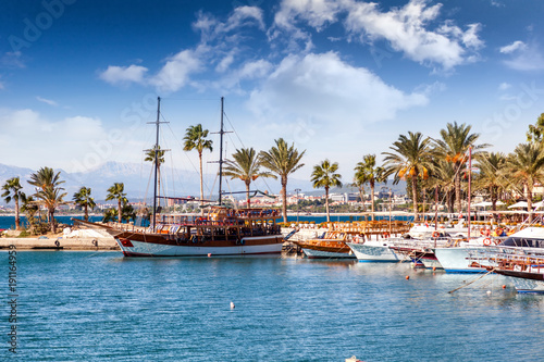 Poster Turkey Port with sightseeing boats, beautiful scenery, Resort town Side in Turkey